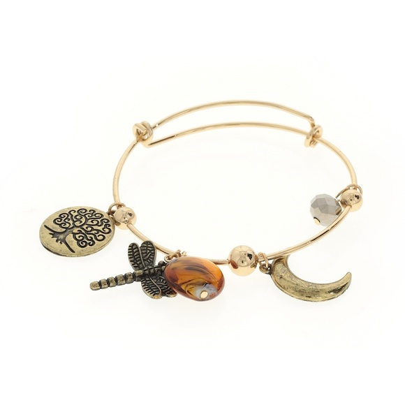 9a3c65b75b697 Dragonfly and Moon Gold Plated Wire Charm Bracelet